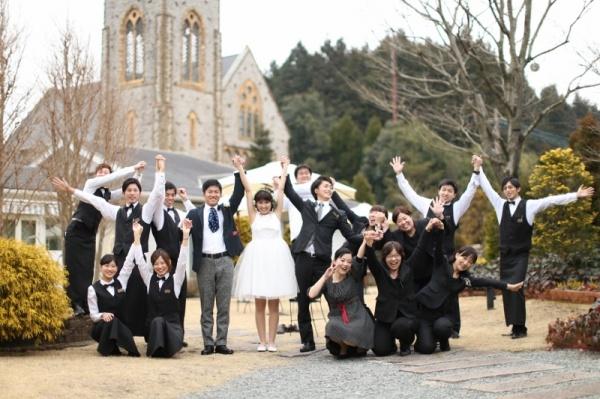 森の教会 結婚式 全員撮り